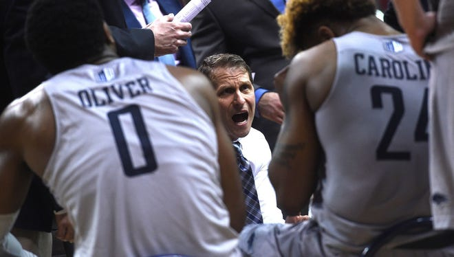 Nevada coach Eric Musselman instructs his team during the Wolf Pack's Mountain West Tournament semifinal win over Fresno State on Friday night in Las Vegas.