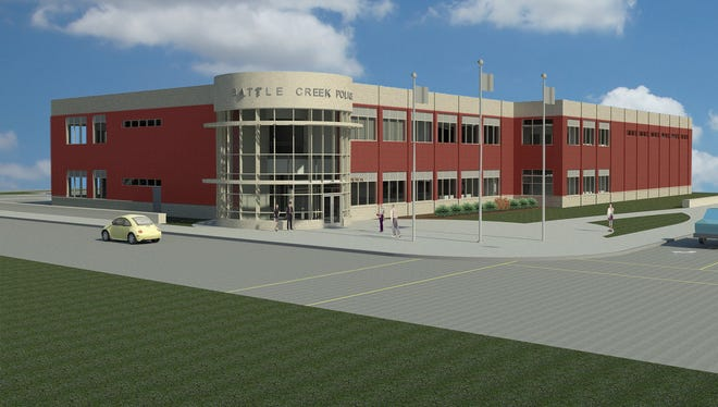 A rendering provided by city officials of the new Battle Creek Police Department headquarters. Construction could begin this month.