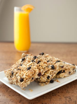 Put some crunch in your morning with Province chef Rita French's blueberry and almond granola squares and a glass of orange juice.Blueberry and almond granola squares are seen with a glass of orange juice at Province at the Westin Hotel in downtown Phoenix.