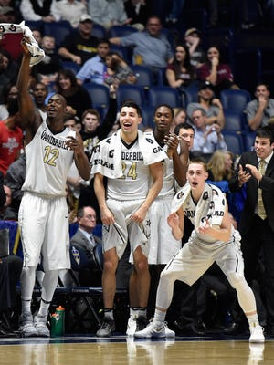 Vanderbilt center Djery Baptiste (12) and guards Nolan Cressler (24) and Riley LaChance (13) react during the second half in the 2017 SEC Men's Basketball Tournament game against Texas A&M at Bridgestone Arena Thursday, March 9, 2017 in Nashville, Tenn.