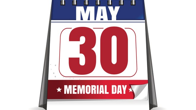 Desktop calendar with the date of 30 May isolated on white background. Last Monday in May. Memorial Day.