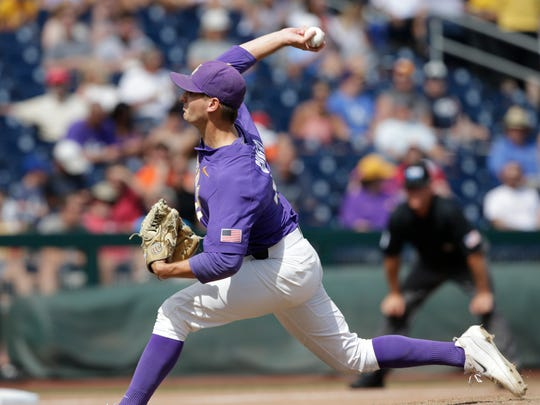 LSU pitcher Caleb Gilbert (41) works against Oregon State in the eighth inning of an NCAA College World Series baseball elimination game in Omaha, Neb., Saturday, June 24, 2017. LSU won 6-1, and advances to the championship series.