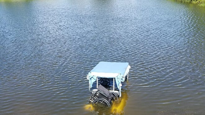 Firefighters rescued a person who drove a golf cart into a pond Friday in Barefoot Bay.