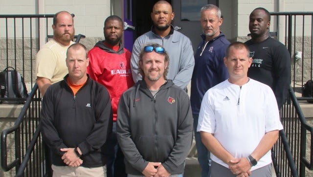 West Team Coaches 2017 Front row (l-r) Scott Stidham, Brandon Gray, Matt McConnell Back row (l-r) Dustin Wilson, Brian Waite, Steve Hookfin, Charlie Lansdell, Anthony Jones Jr.