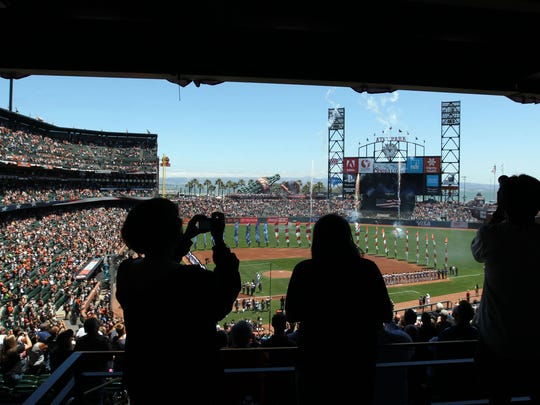 A view of the 4th of July ceremony at AT&T Park in San Francisco in 2016.