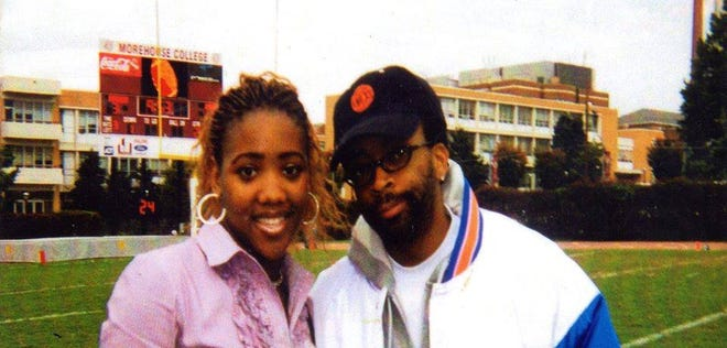 Filmmakers Kiandra Parks and Spike Lee at Morehouse College in 2000.