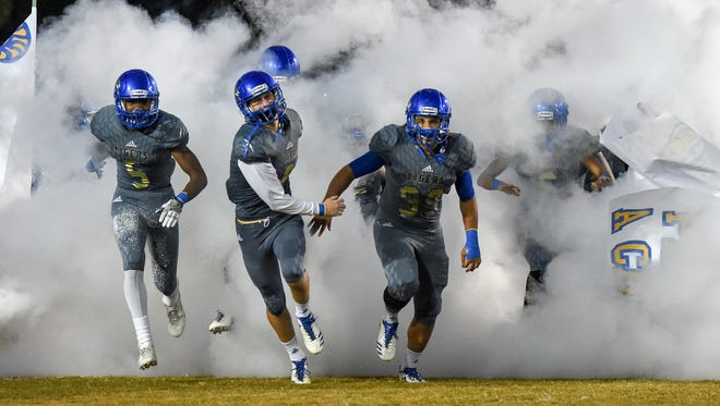 Martin County battled Jensen Beach on Thursday, Nov. 2, 2017, for the county crown during the 2017 Martin Bowl high school football game at Martin County.
