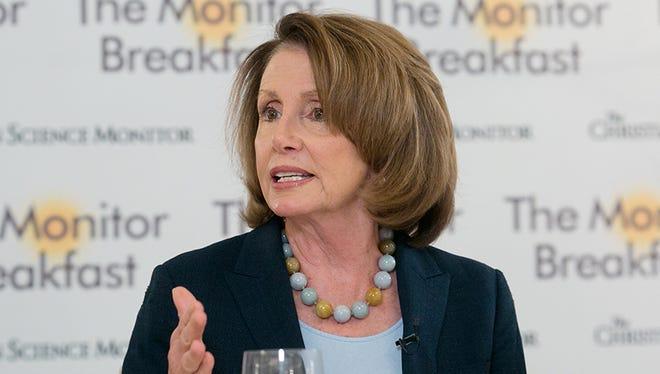 House Minority Leader Nancy Pelosi speaks at a Christian Science Monitor breakfast on March 10, 2017.
