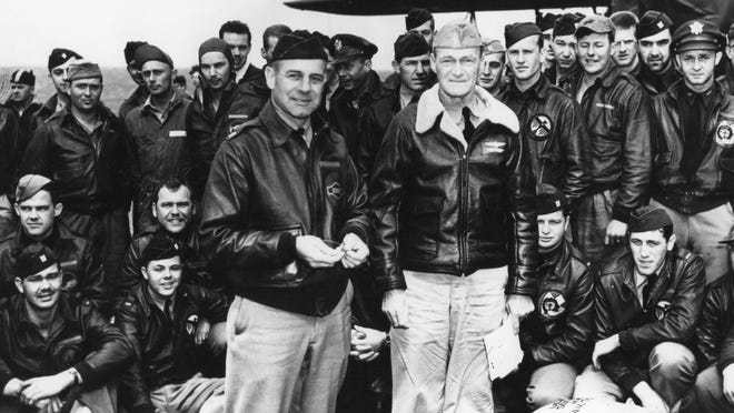 Lt. Col. James H. Doolittle (center left) and other members of the Raiders prior to taking off from the USS Hornet to bomb Japan in April 1942.