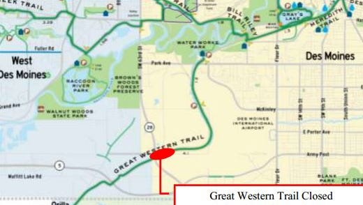 The Great Western Trail will be closed at Army Post Road from Aug. 18-22.