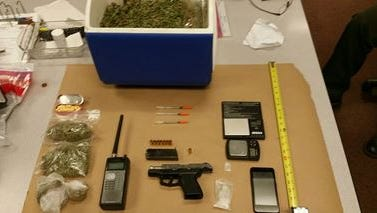 Items seized in a search on Tuesday near Soledad.
