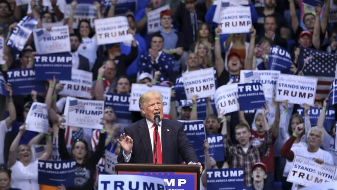 In this file photo, Republican presidential candidate Donald Trump speaks at a campaign rally April 25, 2016, in Wilkes-Barre, Pennsylvania.