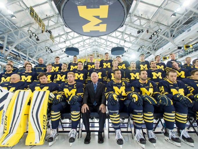 The Michigan hockey team sits patiently waiting for