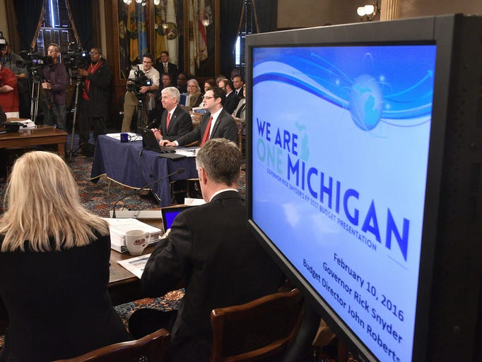 Michigan Gov. Rick Snyder presents the budget to the