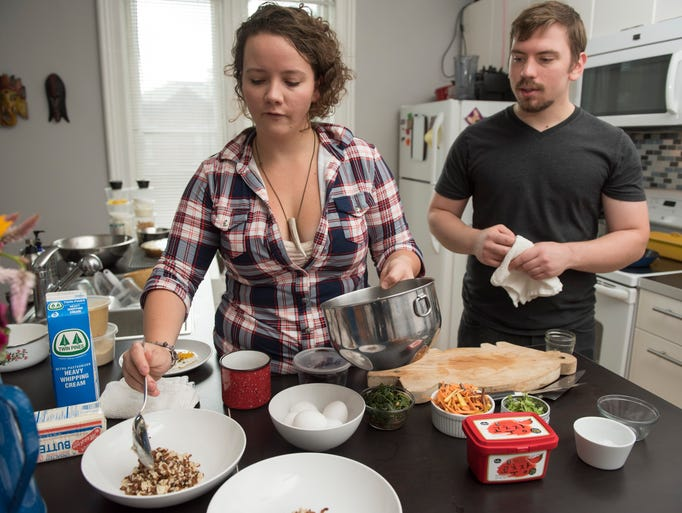 Sarah and her boyfriend Cameron Rolka make the bibimbap.