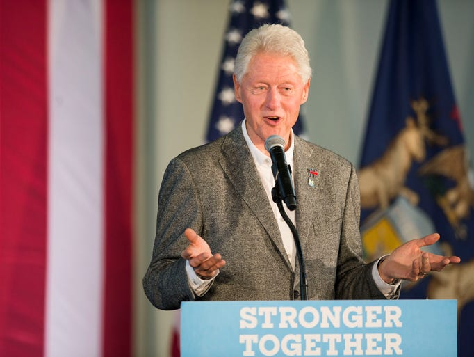 Former President Bill Clinton campaigns for wife Hillary