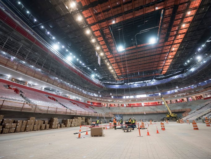 Finishing work continues in Little Caesars Arena in