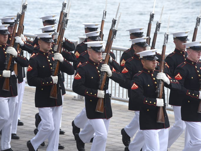 The U.S. Marines Silent Drill Platoon performs their
