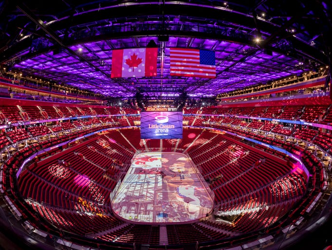 Little Caesars Arena seats 20,000 for hockey.