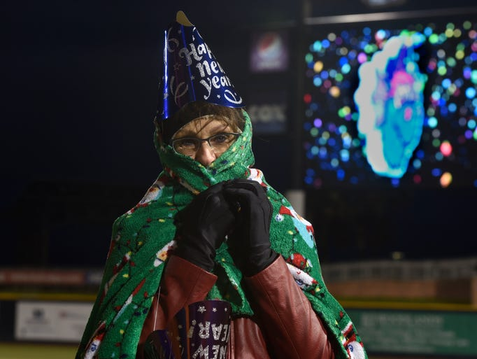 Beth Tibor bundles up while celebrating the new year