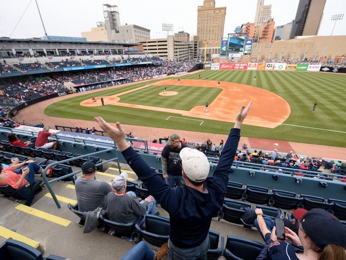 Toledo Mud Hens fans watch the game during the home