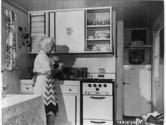 Kitchens included a gas stove, an ice refrigerator and hot water.