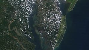 A view of the Chesapeake Bay as seen from space on Monday, showing sediment-choked water coming its way from the rivers of Virginia.
