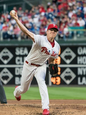 Apr 28, 2018; Philadelphia, PA, USA; Philadelphia Phillies pitcher Nick Pivetta (43) delivers a pitch during the third inning of the game against the Atlanta Braves at Citizens Bank Park. Mandatory Credit: Gregory J. Fisher-USA TODAY Sports