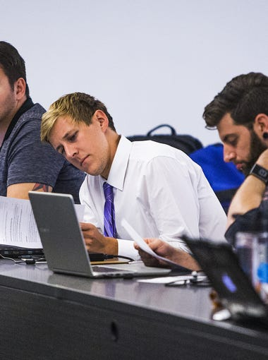 Students listen to a lecture in secured transactions at Arizona Summit Law School in Phoenix, Thursday, April 12, 2018.