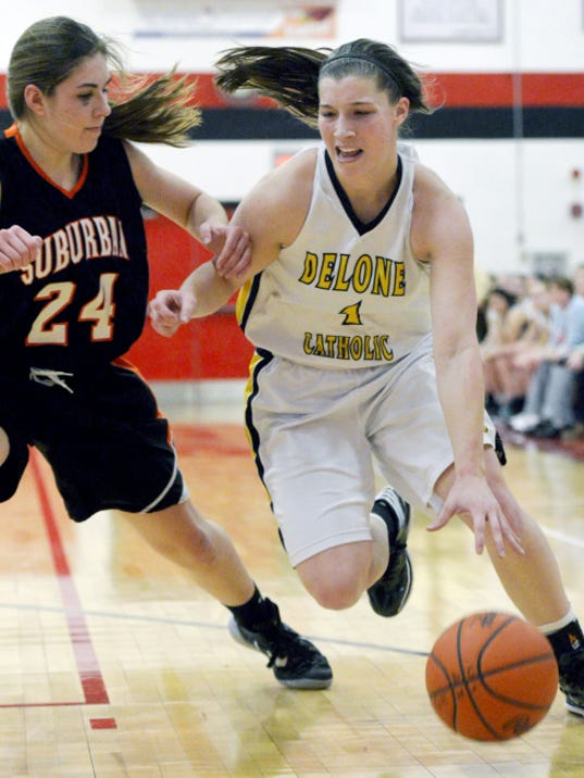 Delone Catholic's Maddie Comly, right, drives against York Suburban's Olivia Gettle during a game in February. Comly led the YAIAA in scoring this season and was named GameTimePA.com's Player of the Year.