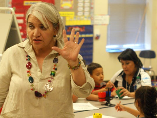 Teacher Dalila Gutierrez on the first day of Columbus Elementary School's K-3 Plus program in June of 2017.
