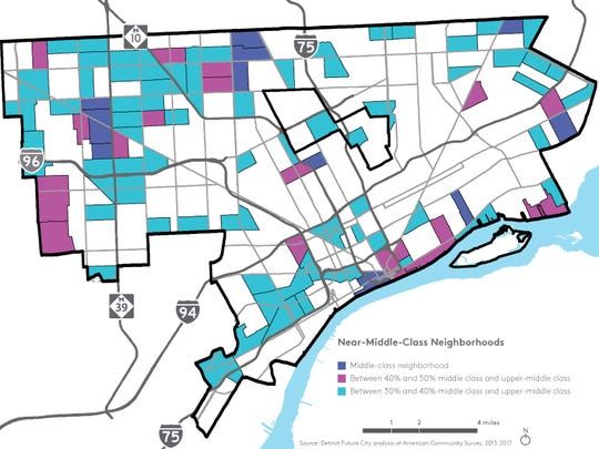 Detroit's middle-class neighborhoods are far-flung. But Detroit's near-middle-class neighborhoods span the city. The purple areas show middle-class neighborhoods. Pink shows neighborhoods where 40% to 50% of the residents are considered to be middle or upper-class and the turquoise shows neighborhoods where between 30% and 40% of residents are considered to be middle or upper class.