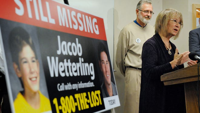 Patty and Jerry Wetterling take part in a 2014 press conference at the Stearns County Law Enforcement Center to announce the installation of six new billboards that will be placed near where their son Jacob was abducted in 1989.