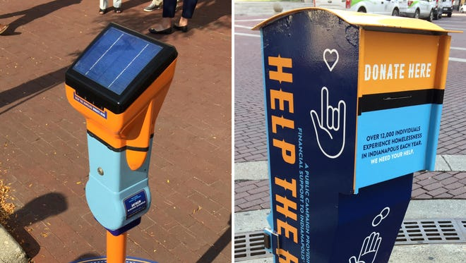 One of 20 of the new Street Reach Indy meters Downtown, left, and one of six donation boxes.