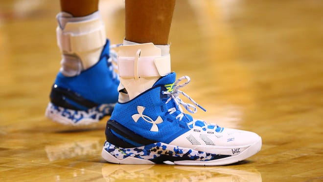 Detailed view of the Under Armour basketball shoes of Golden State Warriors guard Stephen Curry.