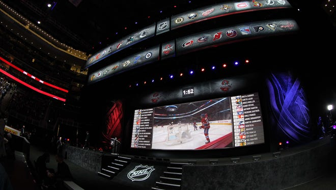 A general view of the stage between picks during the 2013 NHL Draft at the Prudential Center.