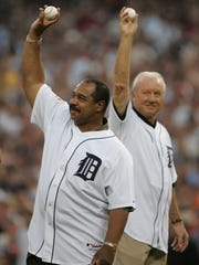 Hall of Famer Al Kaline and Tiger great, Willie Horton hold the balls for the First pitch ceremony prior to  the start of the 2005 All-Star game, Tuesday, July 12, 2005 at Comerica Park.