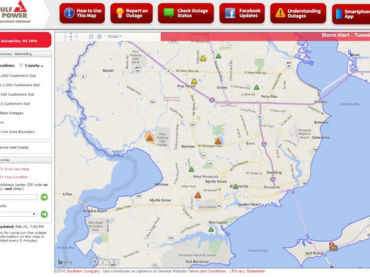 Gulf power outage map.