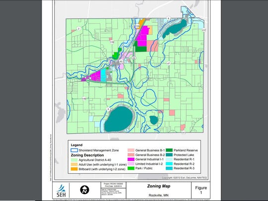 A 2014 zoning map of the city of Rockville, Minnesota.