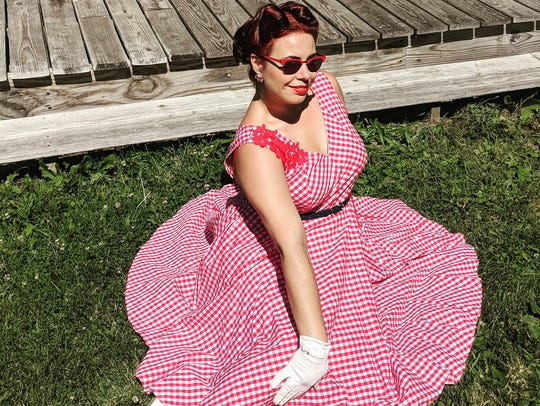 Angela Schwartz, of Binghamton, dons a picnic-themed
