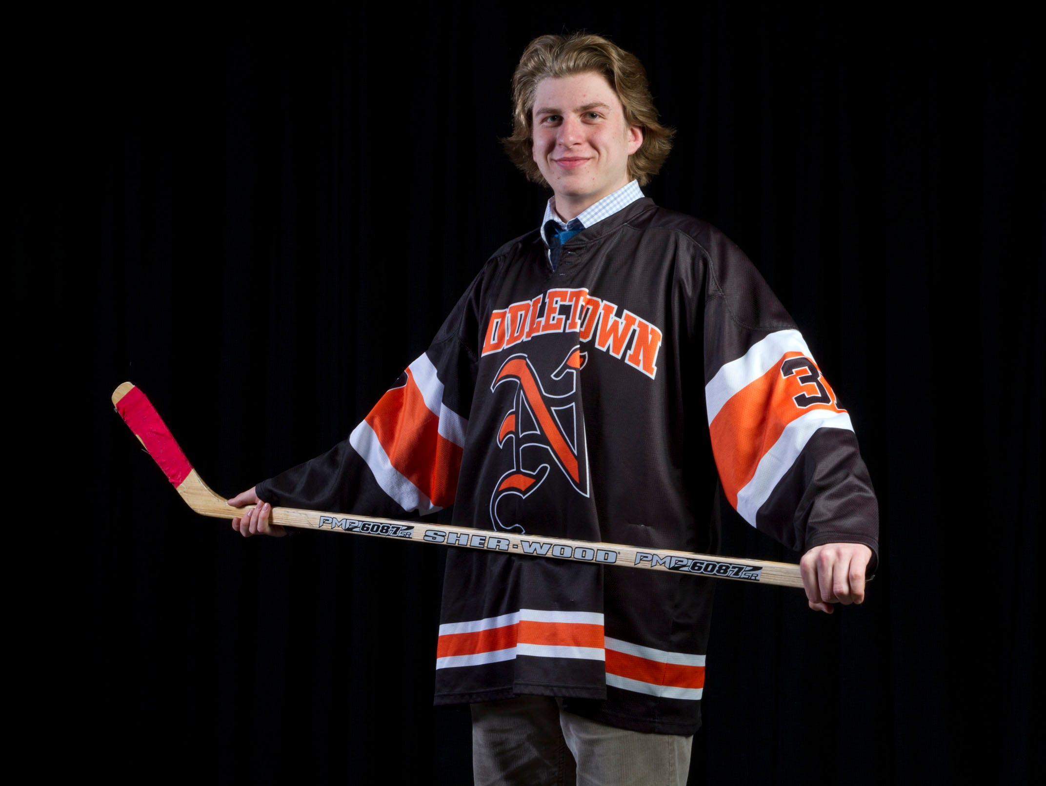 All-Shore Ice Hockey Player of the Year Bobby Hampton of Middletown North.