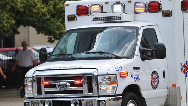 An ambulance responds to a call in Indianapolis.
