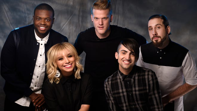 Kevin Olusola, Kirstin Maldonado, Scott Hoying, Mitch Grassi and Avi Kaplan of Pentatonix Friday Sept. 4, 2015, in Nashville, Tenn.