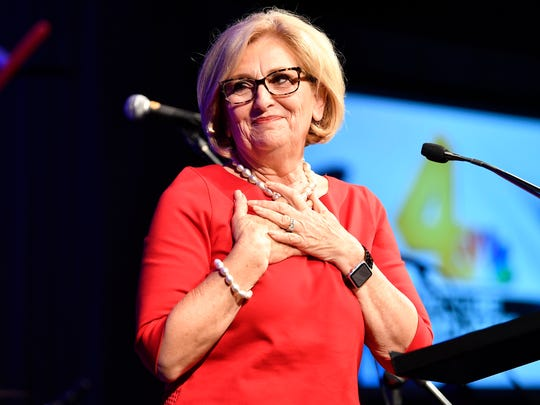 U.S. Rep. Diane Black speaks during her primary election night event at the Loews Vanderbilt Hotel in Nashville, Tenn., Thursday, Aug. 2, 2018.