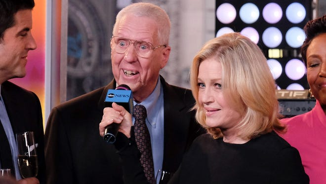 "David Hartman, left, and Diane Sawyer attend ""Good Morning America's"" 40th Anniversary at GMA Studios on Thursday."