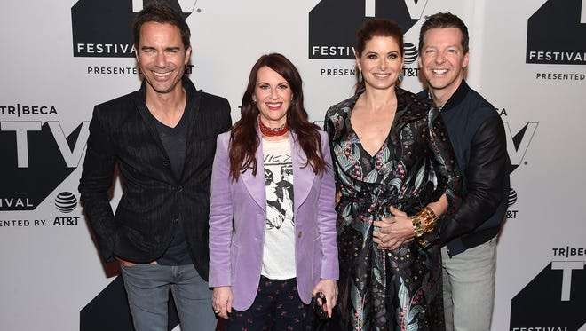 'Will and Grace' stars Eric McCormack, Megan Mullally, Debra Messing and Sean Hayes attend the Tribeca TV Festival at Cinepolis Chelsea on Sept. 23.