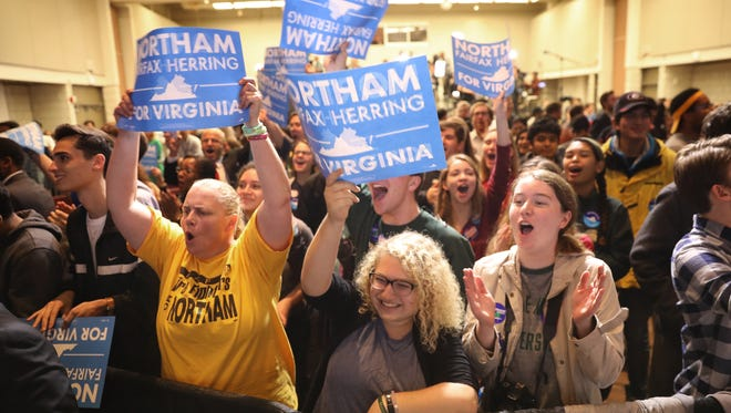 Supporters of Ralph Northam, the Democratic candidate for governor of Virginia, celebrate as early projections indicated a Northam victory at an election night rally on Nov. 7, 2017 in Fairfax, Virginia. Northam has fought a close race with Republican candidate Ed Gillespie.