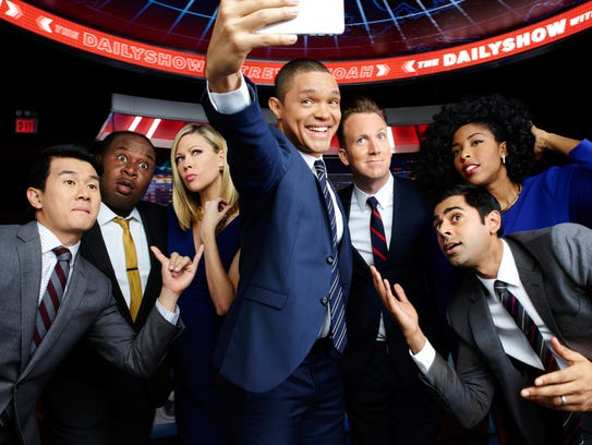 "The current ""Daily Show"" team under Trevor Noah (center)."