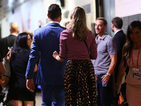 Houston Astros starting pitcher Justin Verlander (35) and Kate Upton leave the stadium after game two of the 2017 ALCS playoff baseball series between the Houston Astros and the New York Yankees at Minute Maid Park on Saturday, Oct. 14, 2017.