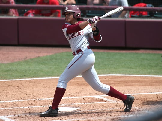FSU's Elizabeth Mason makes contact with a pitch against